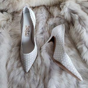 Salvatore Ferragamo Laser Cut White Heels 10